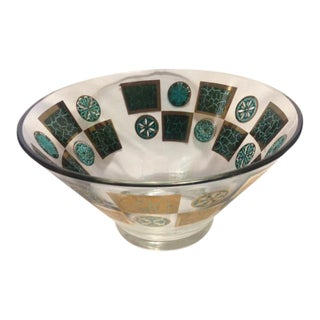 Mid Century Turquoise & Gold Glass Chip Bowl