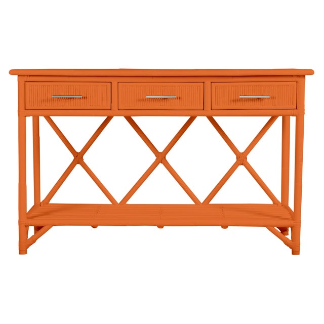 Versatile and highly functional, this classically designed sideboard features a Pencil Rattan top, sides and drawer...