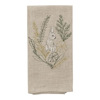 Contemporary Linen Bunny Portrait Tea Towel