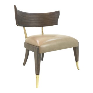Caracole Modern It's All Greek to Me Greige Klismos Slipper Chair For Sale