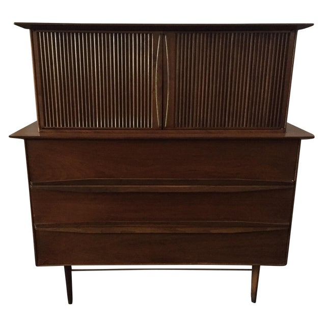 Mid Century Walnut Tall-Boy Chest - Image 1 of 9