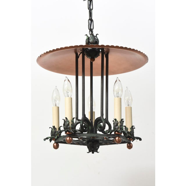 Five Light Lantern, with copper cover and verdigris foliate frame. Completely restored, rewired, and ready to hang. C. 1930