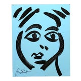 Image of Original Peter Robert Keil Abstract Face Painting Signed For Sale