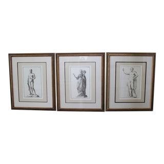 Classical Roman Statues Engravings - Set of 3