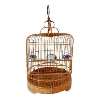Bamboo Bird Cage w/ B & W Porcelain Bowls