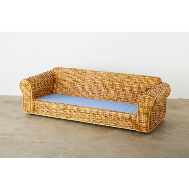 Contemporary Ralph Lauren Woven Rattan Sofa With Blue Ombre Upholstery For Sale - Image 3 of 13