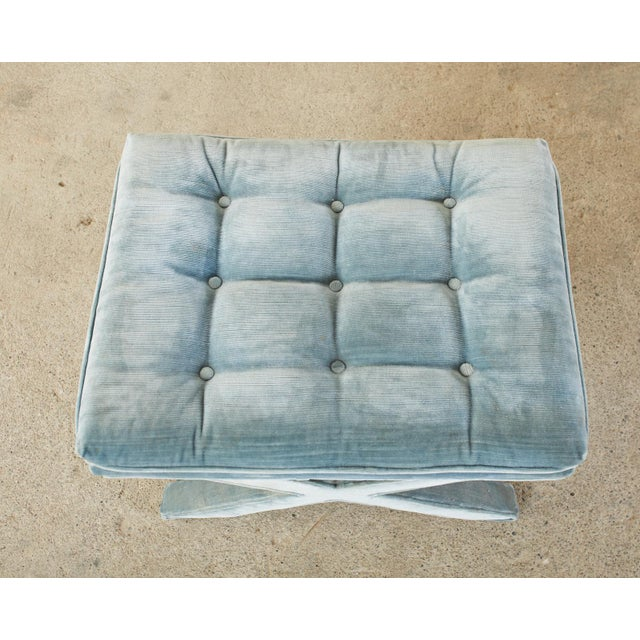 Billy Baldwin Pair of Billy Baldwin Style X Base Tufted Blue Velvet Benches For Sale - Image 4 of 13