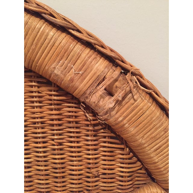 1960s Boho Chic Twin Wicker Rattan Headboards - a Pair For Sale - Image 4 of 8