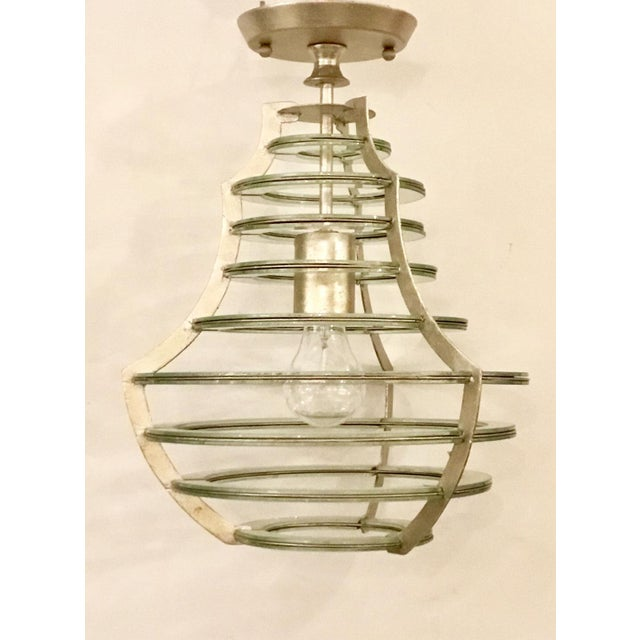 2010s Modern Currey & Co. Mirrored Cascading Silver Disc Lantern For Sale - Image 5 of 5
