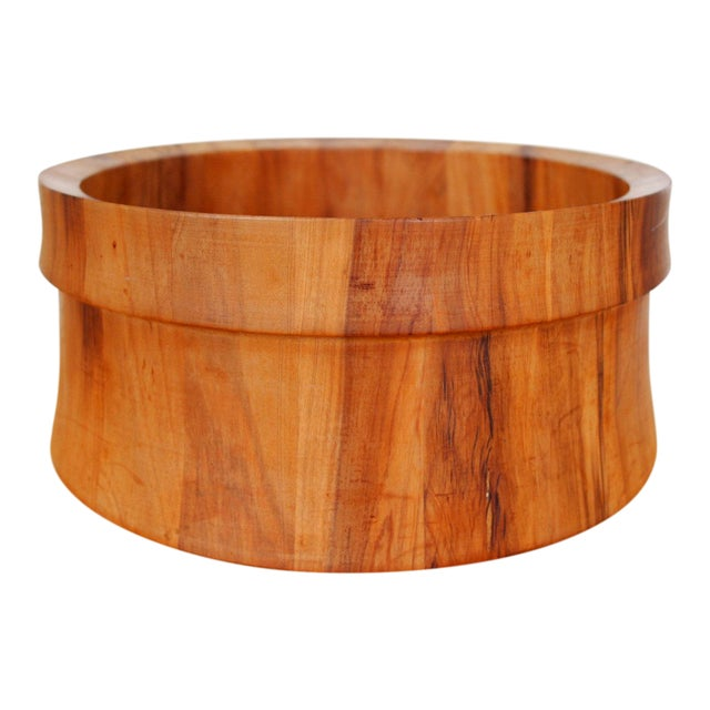 Vintage Nissen Solid Staved Teak Salad Bowl For Sale