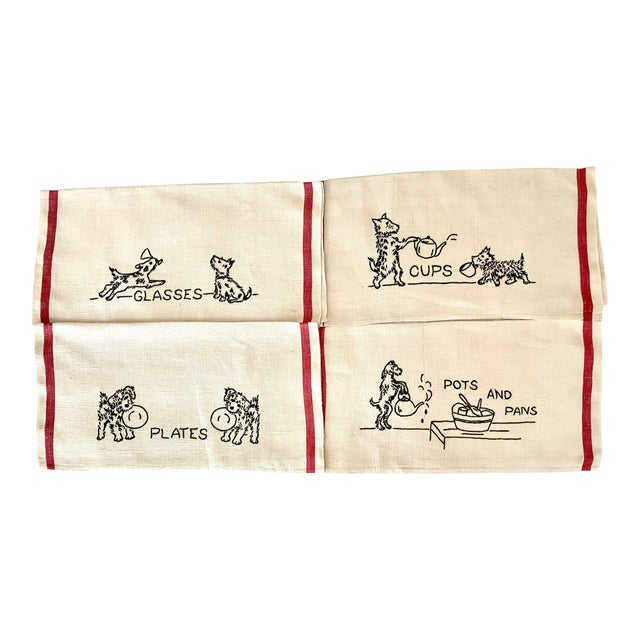 Antique Shabby Chic Linen Embroidered Dish Towels, Set 4 For Sale