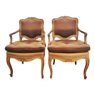 1980s Vintage Lillian August Louis XV Style Chairs- A Pair For Sale