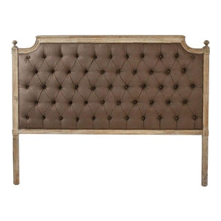Queen Audley Tufted Headboard in Aubergine For Sale