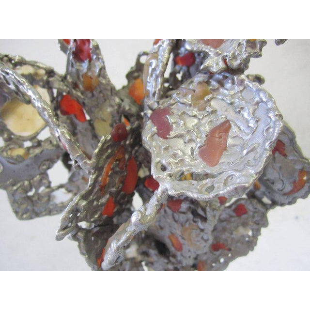 Lead Abstract Sculpture with Obsidian Base and Agate Inserts For Sale - Image 5 of 7