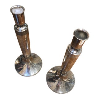 American Modern Silver Candlesticks - a Pair For Sale