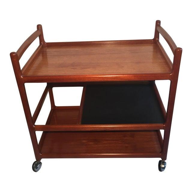 Johannes Andersen Mid-Century Solid Teak Bar Cart For Sale