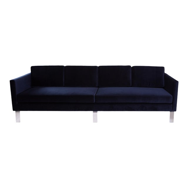 1970s Vintage Martin Brattrud Navy Mohair Sofa For Sale