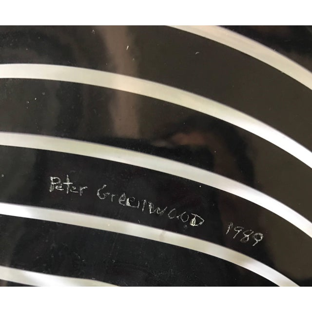 1980s Large Purple Art Glass Plate Charger Signed by Peter Greenwood For Sale - Image 5 of 6
