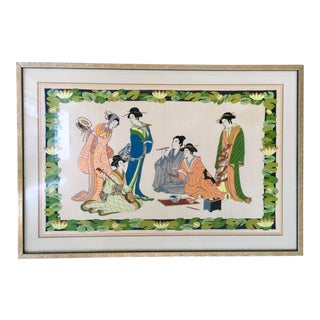 Large Framed Geisha Chinoiserie Embroidered Textile Art