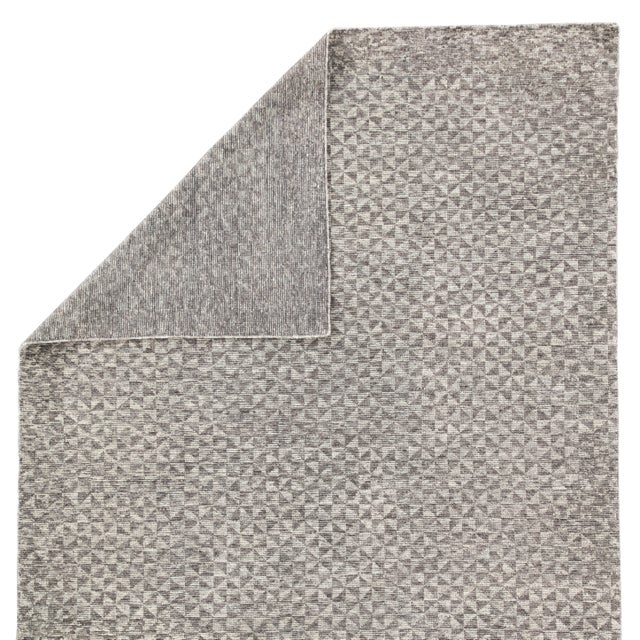 Jaipur Living Zaid Hand-Knotted Geometric Dark Gray / Ivory Area Rug - 8′ × 10′ For Sale - Image 4 of 6