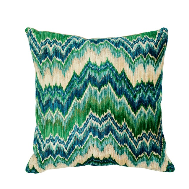 Textile Schumacher Bezique Flamestitch Velvet Pillow in Blue & Green For Sale - Image 7 of 7