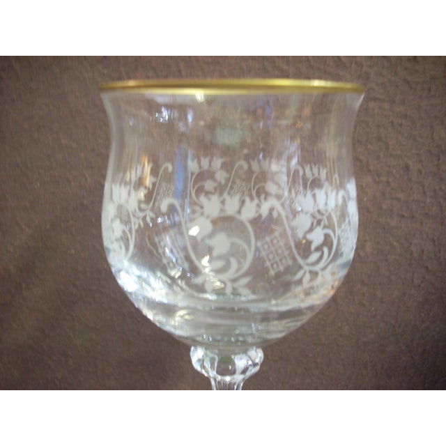 Traditional Mikasa Gold Rim and Brocade Etching Crystal Wine Goblets - Set of 10 For Sale - Image 3 of 5