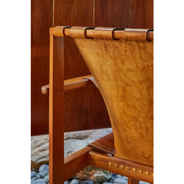"1950s Carl Axel Acking ""Trienna"" Chair in Patinated Brown Leather For Sale - Image 12 of 13"