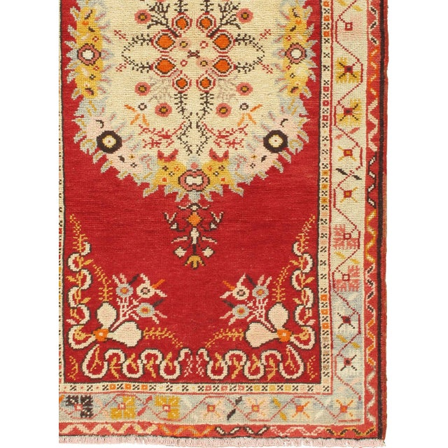 Character, tradition, pattern and palette converge in this gorgeous hand-knotted vintage Turkish Oushak rug with soft...