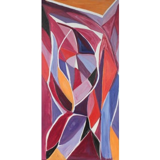 """Georgette London Owens """"Autumn Leaves"""" Cubist Abstract Oil Painting, 20th Century For Sale"""