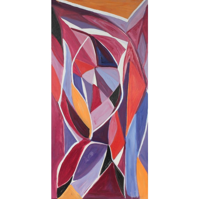 "Georgette London Owens ""Autumn Leaves"" Cubist Abstract Oil Painting, 20th Century For Sale"