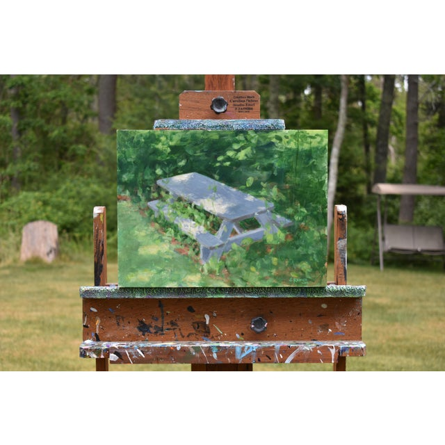 "Green ""Forgotten Picnic Table"" Original Painting For Sale - Image 8 of 9"