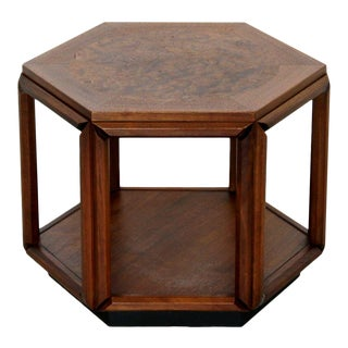 Mid Century Modern Brown Saltman Small Hexagon Side End Table Walnut 1960s For Sale