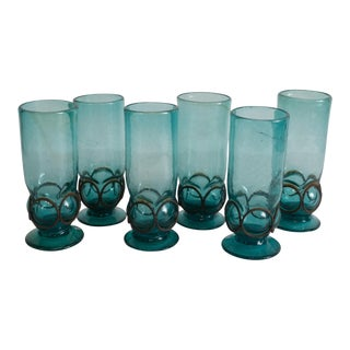 Vintage Hand Blown Caged Turquoise Glassware - Set of 6 For Sale