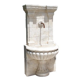 Large Carved Stone Wall Fountain From France For Sale
