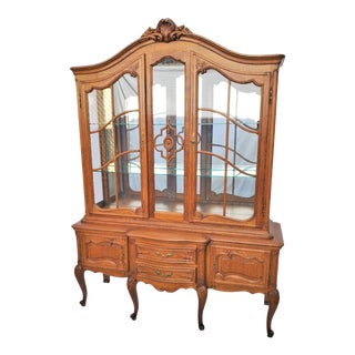 Vintage Louis XV French Country Style Oak China Display Cabinet For Sale