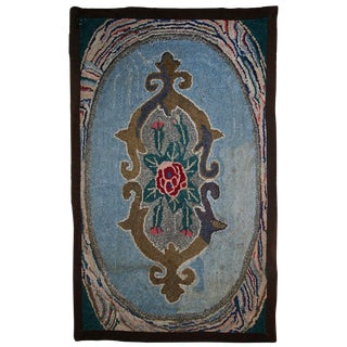 1900s Handmade Antique American Hooked Rug - 2' X 3' For Sale