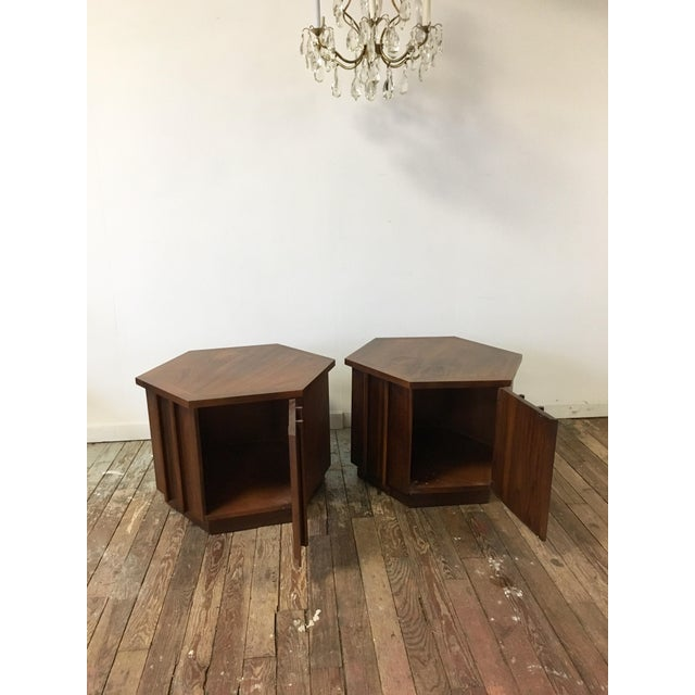 Mid-Century Lane Hexagon Walnut Side Tables - a Pair For Sale - Image 6 of 10