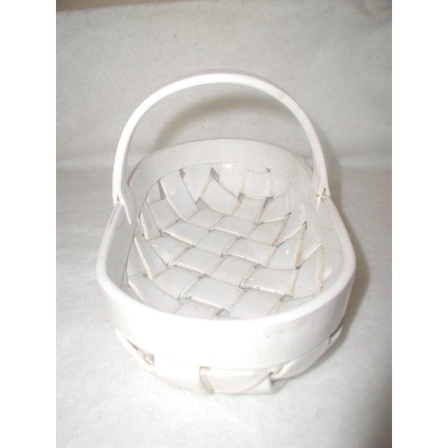 Vintage Ceramic Lattice Handled Bowl or Planter For Sale - Image 4 of 8