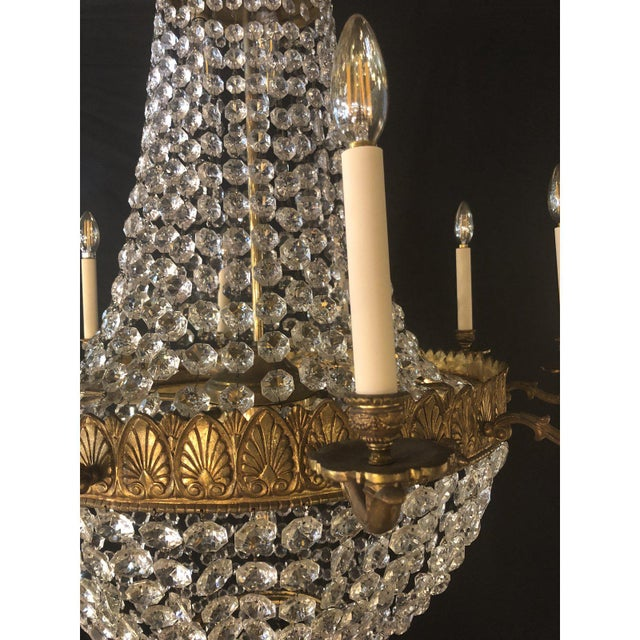 Metal Large French Antique Louis XVI Style Bronze and Crystal Chandelier For Sale - Image 7 of 11