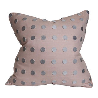 Contemporary Blush Pink, Gray Leather Pillow - 22 X 22 For Sale