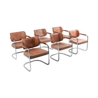 Cognac Leather Armchairs Set of 6 by Knoll For Sale