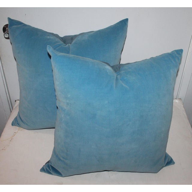 French Pair of Light Blue Velvet Pillows For Sale - Image 3 of 4