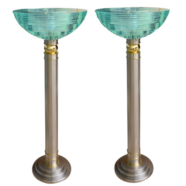 Pair of Heavy Mixed Metals and Stepped Lucite Torcheres For Sale