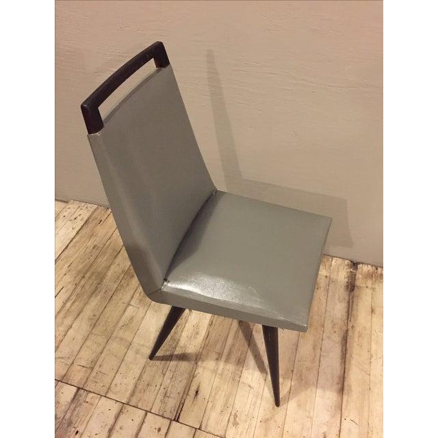 Vintage 1960s Mod Wood & Vinyl Chairs - 4 - Image 6 of 8