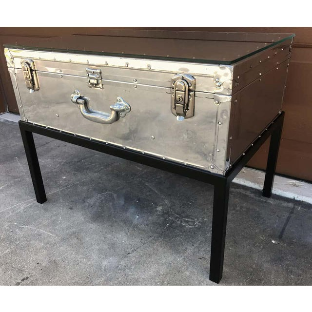 Japanese post war aluminum riveted trunk on iron stand with glass top, restored Stamped TS Tokyo on the lock, at the time...