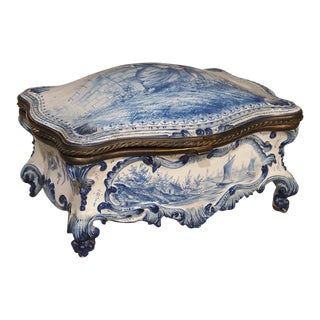 Antique Blue and White Delft Table Box, Late 19th Century For Sale