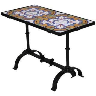 1920s Vintage Arts & Crafts Yellin School Wrought Iron and Enameled California Tile Table For Sale