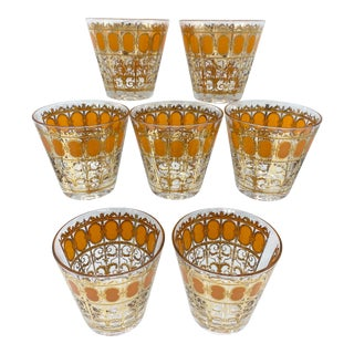 Mid-Century Culver 22k Gold and Orange Scroll Whisky Glasses-Set of 7 For Sale
