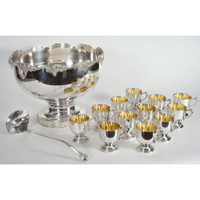 Copper Vintage English Georgian Style Silver Plated & Copper Punch Bowl Set of 15 For Sale - Image 7 of 12