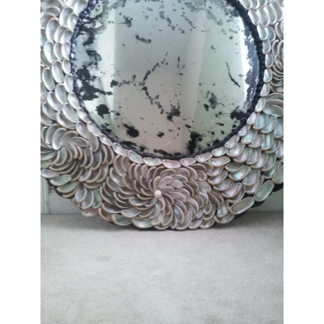 Contemporary Abalones Shell Mirror With Antique Glass For Sale - Image 3 of 12